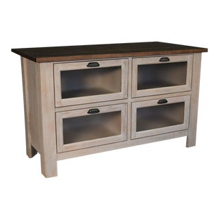 Crafters and Weavers Emerson Kitchen Island - Distressed White For Sale