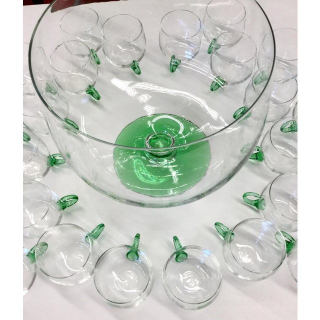 Mid Century Modern Hand Blown Glass Punch Set - 25 Pieces For Sale - Image 10 of 13