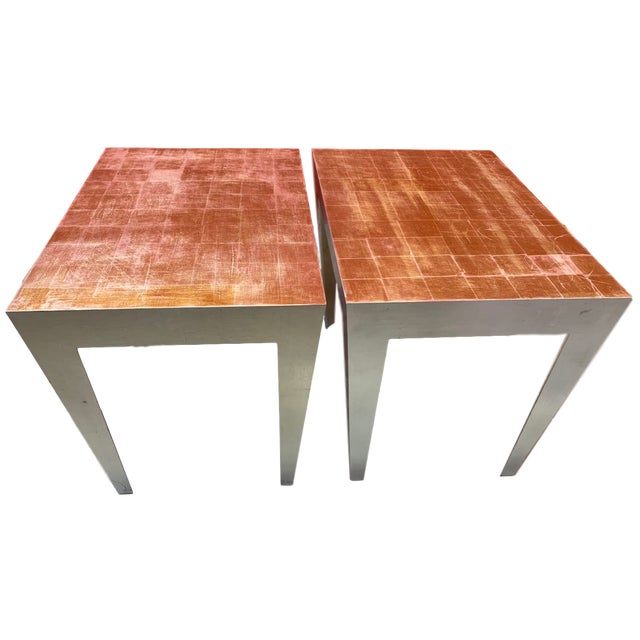 1980s Vintage Silver and Gold Leaf Accent Tables- A Pair For Sale - Image 13 of 13