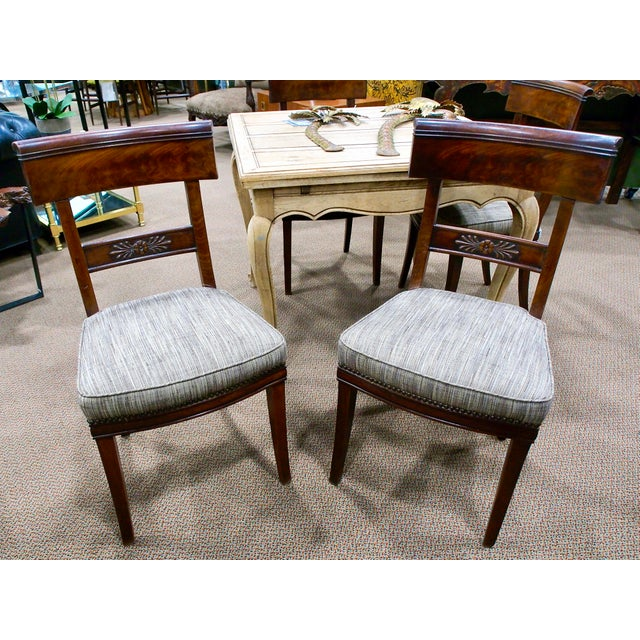 Early 19th Century Newly Upholstered French First Empire Dining Chairs - Set of 6 - Image 5 of 8
