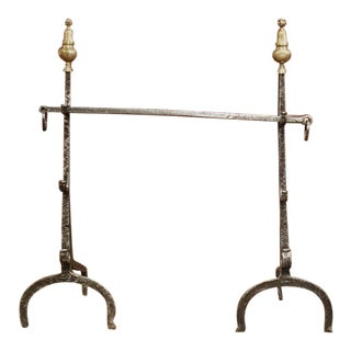 Pair of 17th Century French Polished Forged Iron and Bronze Fireplace Andirons For Sale
