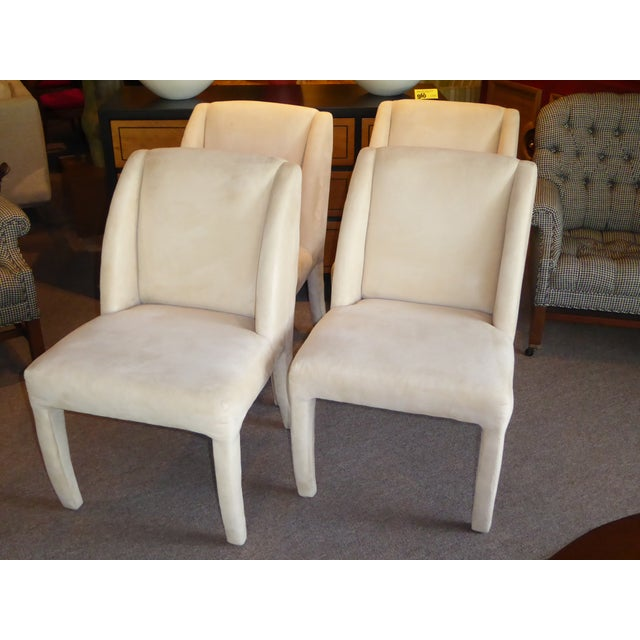 Hollywood Regency 1980's Directional Scupltural Ultra Suede Modern Dining Chairs - Set of 4 For Sale - Image 3 of 13