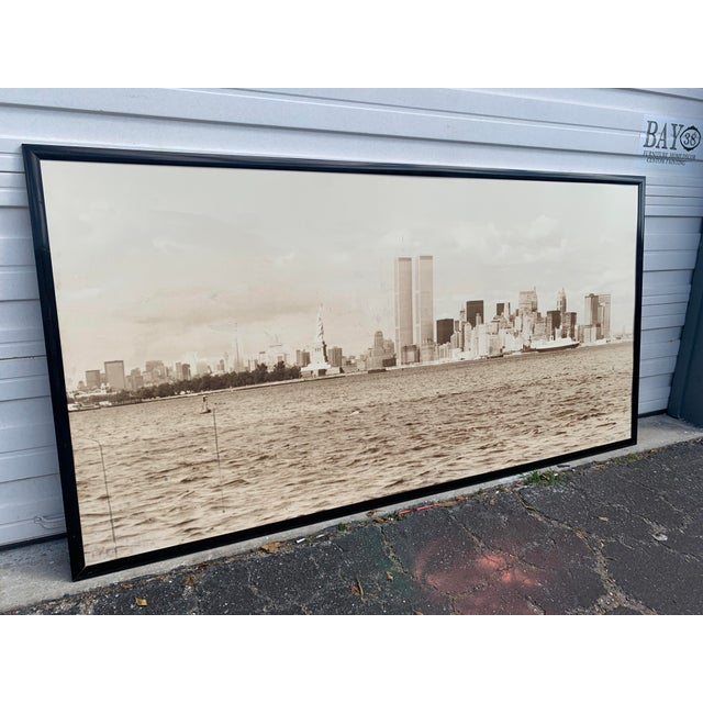 If you can make it there! Enormous, nostalgic, original photograph of WTC-The Twins, Lady Liberty, & The Hudson signed...