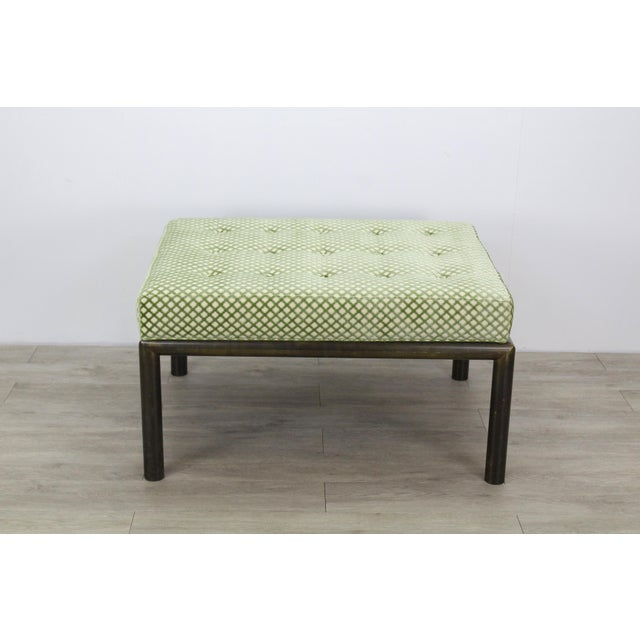 Metal Mastercraft Solid Brass Ottoman With Chenille Textile For Sale - Image 7 of 7