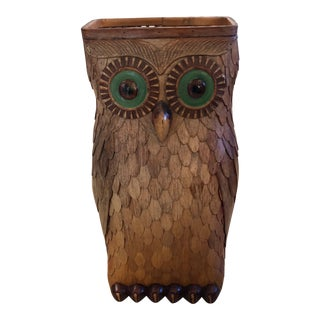 Wooden Owl Vessel With Glass Eyes For Sale