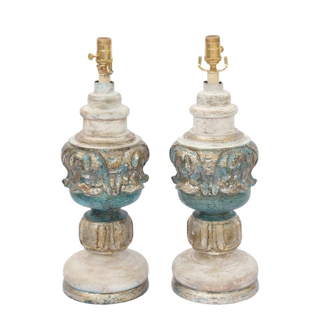 Pair of Painted and Parcel Silver Gilt Carved Wood Finial Lamps For Sale