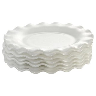 Vintage White Ruffle Rim Dessert Plates - Set of 7 For Sale