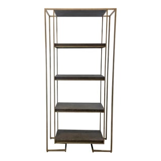 Modern Soft Gray Oak and Champagne Silver Metal Etagere For Sale