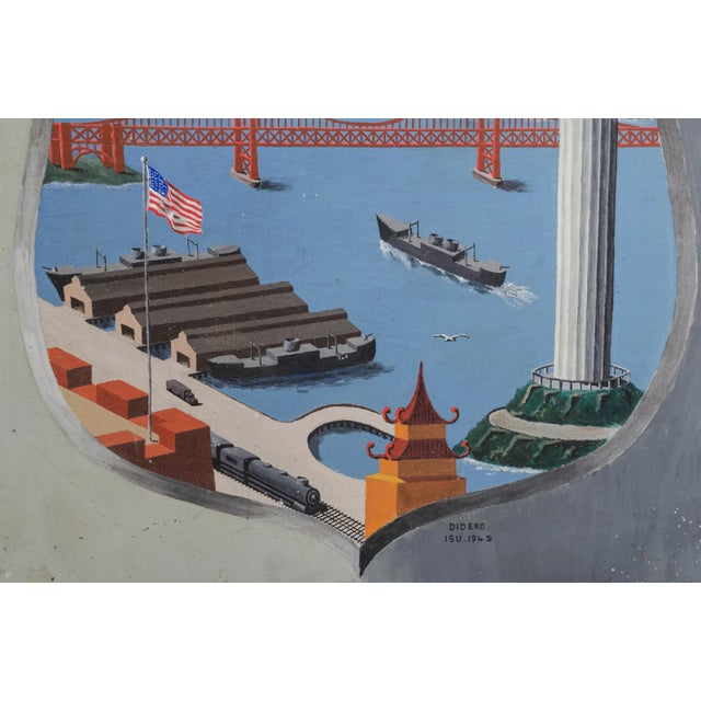 """""""Army Port, San Francisco"""" 1945 Outsider Art Oil Painting For Sale In San Francisco - Image 6 of 10"""