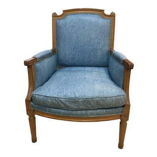 Vintage Blue & White Wood Frame Padded Club Chair For Sale