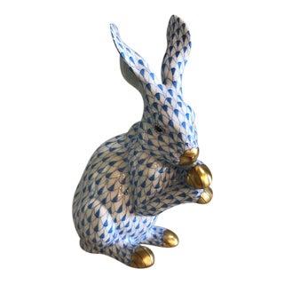 Herend Blue Fishnet Rabbit Figurine