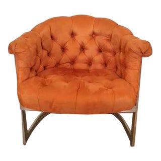 Upholstered Mid-Century Tufted Arm Chair