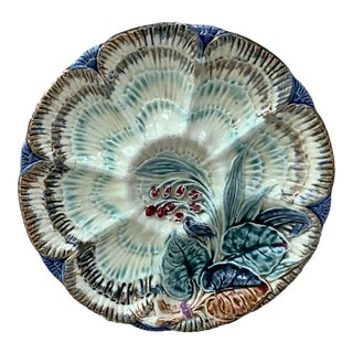 19th Century Wasmuel Majolica Oyster Plate For Sale
