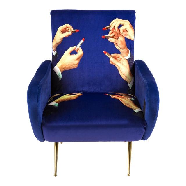 Seletti, Lipsticks Armchair, Blue, Toiletpaper, 2018 For Sale