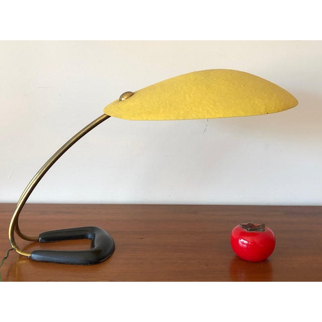Yellow 1950s Carl Aubock Table Lamp With Fiberglass Shade For Sale - Image 8 of 10
