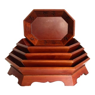 Asian Calligraphy Octagonal Nesting Trays - Set of 5 For Sale