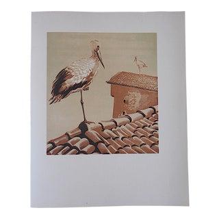 Vintage Ltd. Ed Woodcuts by J. Kefalleno-Greece-Stork
