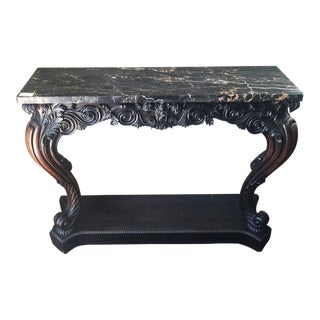 Neoclassical Rosewood Marble Top Console Table For Sale