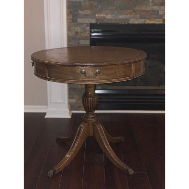 Duncan Phyfe Revival Style Paw Foot Drum Table For Sale - Image 12 of 12