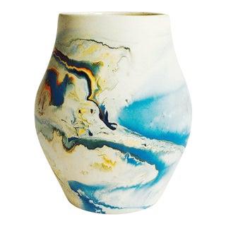 Vintage Blue Nemadji Pottery Vase For Sale