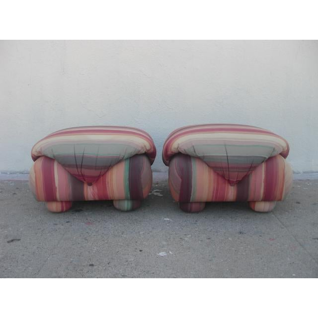 Boho Chic 1980s Vintage Upholstered Poofs- A Pair For Sale - Image 3 of 13
