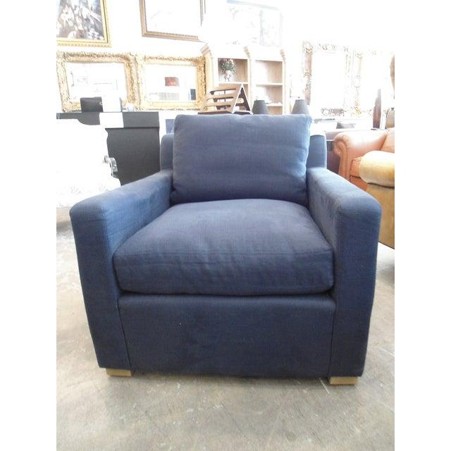 Restoration Hardware Upholstered Navy Armchair - Image 2 of 5