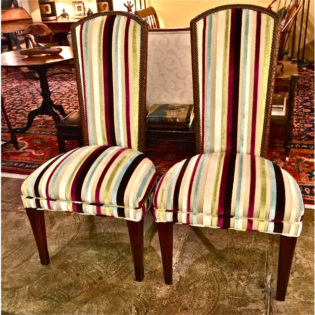 Mid-century Modern High Back Side Chairs - Pair - Image 2 of 7