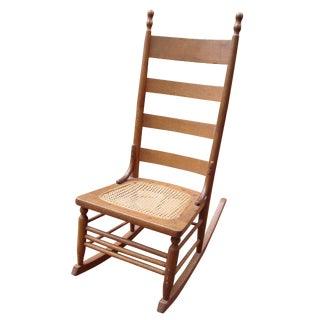 Antique 18th C. Early American Ladderback Rocker Chair For Sale