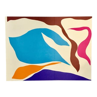 1970s Vintage Ray Parker Abstract Lithograph Print For Sale