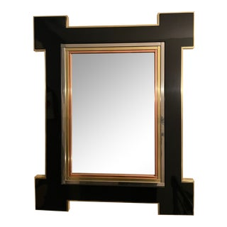 Lacquer Black and Gold Brass Beveled Mirror For Sale