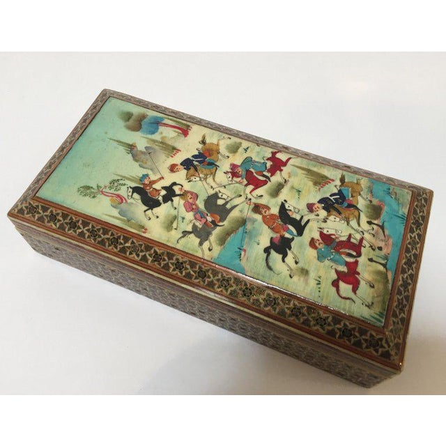 Islamic 1950s Persian Inlaid Jewelry Trinket Box For Sale - Image 3 of 11