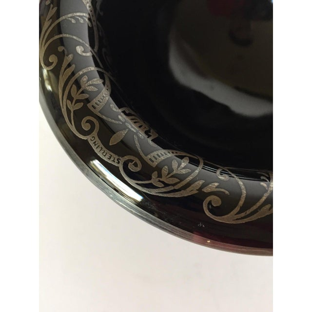 Black Glass & Sterling Silver Pedestal Bowl / Candy Dish / Compote For Sale - Image 4 of 8