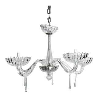 Mid-Century Clear Five-Light Murano Glass Chandelier For Sale
