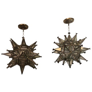 Pair of Sputnik Star Light Fixtures Lead Glass Art Deco Style Not Wired For Sale