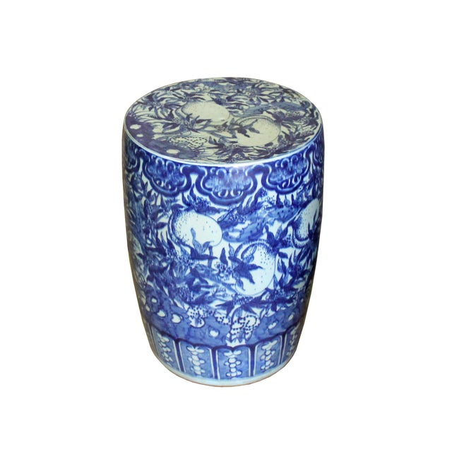 Chinese Round Peach Flower Blue White Porcelain Stool Table For Sale - Image 4 of 7