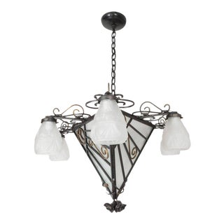 French Art Deco Chandelier with Six Frosted Glass Skyscraper Style Shades For Sale