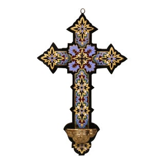 19th Century French Bronze Cloisonne & Champleve Wall Cross on Wooden Mount For Sale