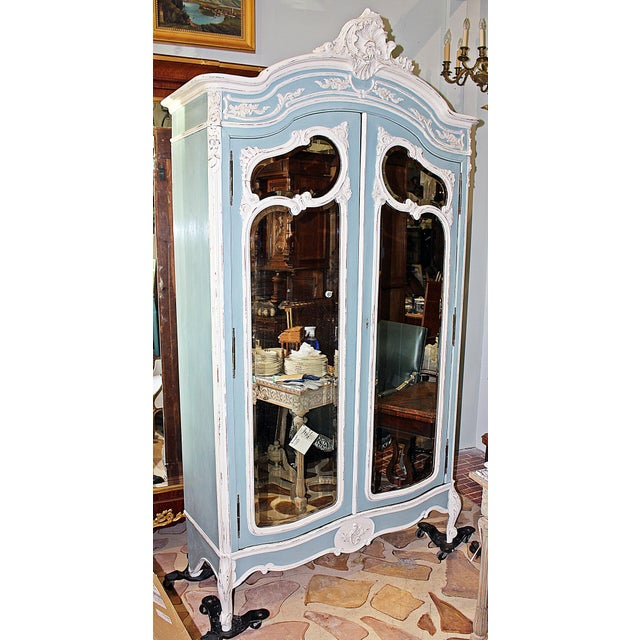 Stunningly appointed authentic circa 1880 French rococo 2 door walnut armoire just painted in genuine Annie Sloan Chalk...