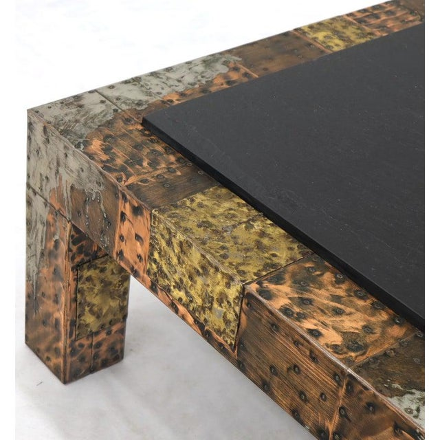 Black Paul Evans Mid-Century Modern Rectangular Coffee Table With Slate Top For Sale - Image 8 of 12