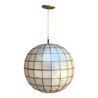 Vintage 1960s Mid-Century Capiz Shell Pendant Globe Light Manufactured by Feldman Co., Los Angeles, California For Sale