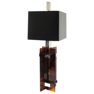 Gaetano Sciolari Mid-Century Tortoiseshell Lucite & Chrome Table Lamp