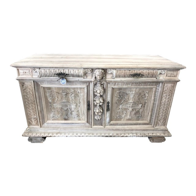 19th Century Italian Walnut Carved Buffet For Sale