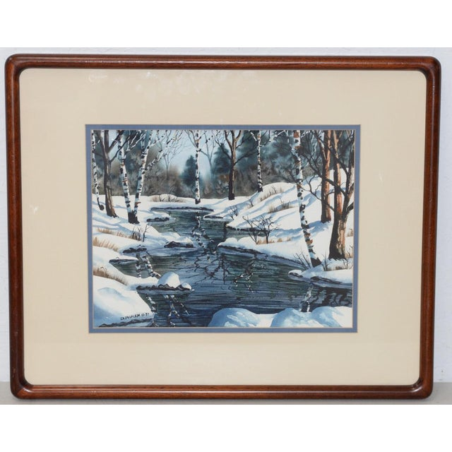 "Blue Diane Phalen ""Pennsylvania Winter Landscape"" Original Watercolor C.1987 For Sale - Image 8 of 9"