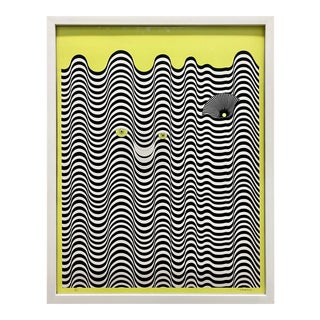Vibrant Op Art Print by French Artist, Signed For Sale