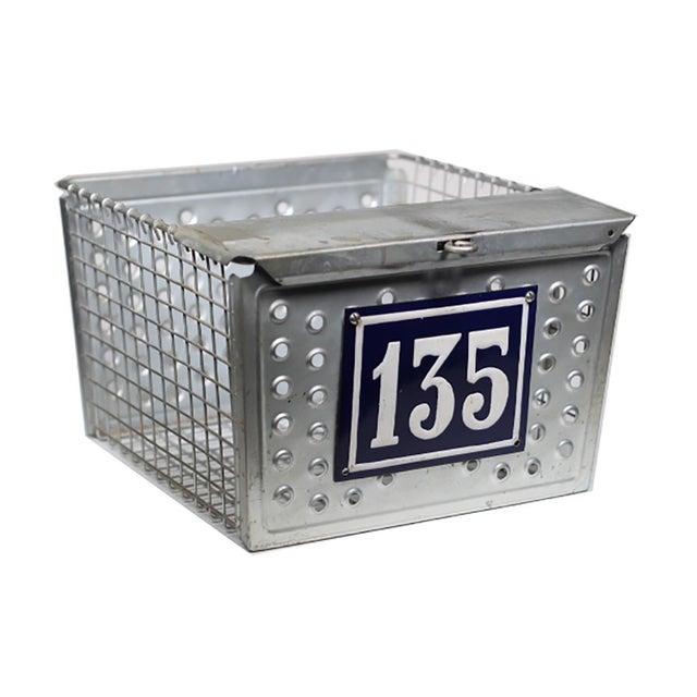 1930s Industrial Metal Basket with Porcelain Number Plate - Image 1 of 2