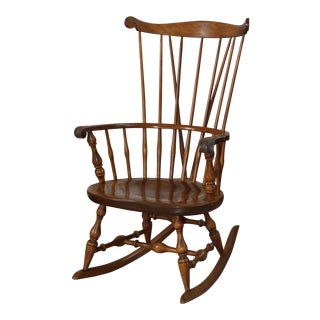 Vintage Mid Century Nichols & Stone Windsor Comb Back Rocking Chair For Sale