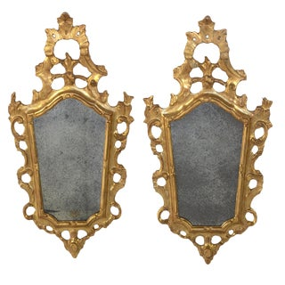 Pair of Small-Scale Carved French Rococo Style Mirrors; France, Circa 1890 For Sale