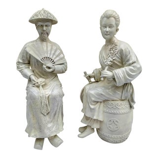 Mid 20th Century Asian Chinoiserie Man and Woman Decorative Statues - a Pair For Sale