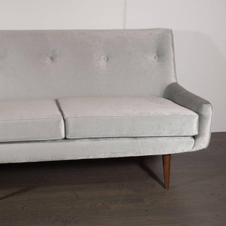 1960s Mid Century Modern Button Back Sofa With Tapered Hand Rubbed Walnut  Legs For Sale