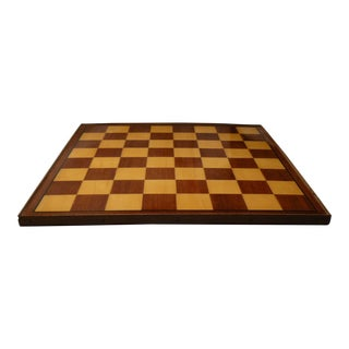 Vintage Inlaid Satinwood Chess Checker Board, Made in Italy For Sale